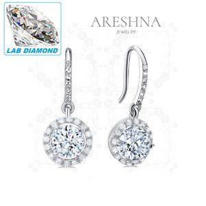 4ct Lab Diamond Round Cut Earrings